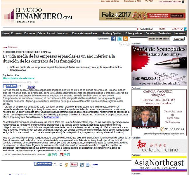 El Mundo Financiero. 29.12.2016